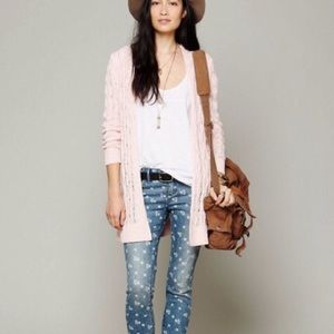 Free People Cable Knit Long Open Cardigan